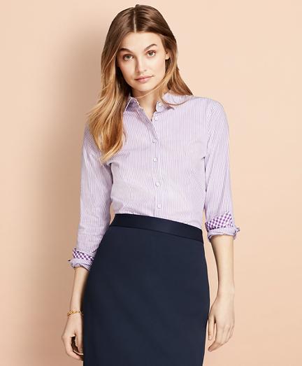 Striped Stretch Cotton Poplin Shirt
