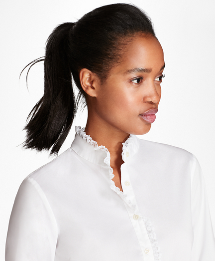 Lace-Trimmed Stretch Cotton-Blend Poplin Shirt