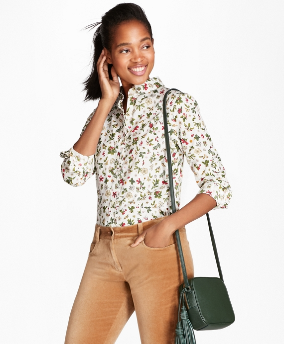 Holly Floral-Print Cotton Poplin Shirt White-Multi