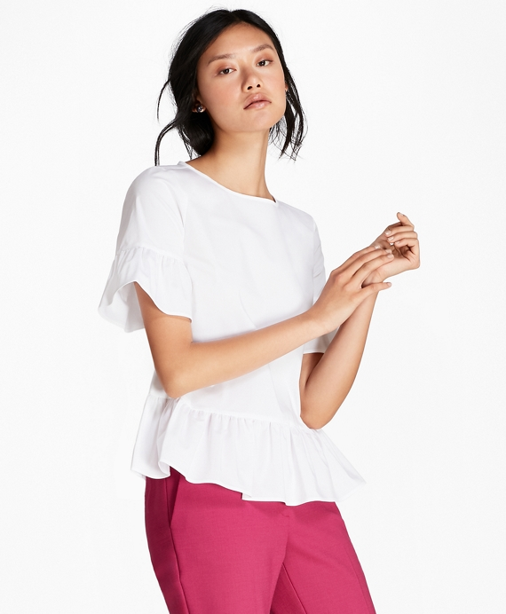 Ruffled Poplin Peplum Blouse White