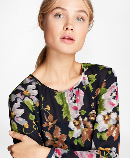 Floral-Print Georgette Blouse