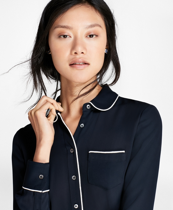 Contrast-Piped Crepe Blouse Navy