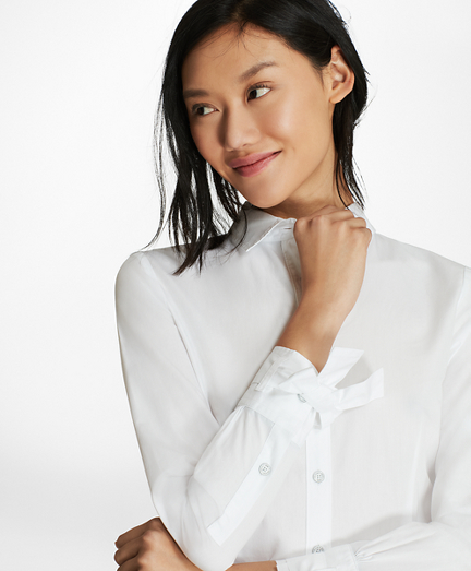 Bow-Cuff Cotton Poplin Shirt
