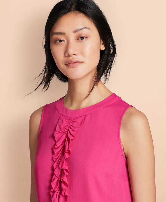 Ruffled Crepe Top Fuchsia