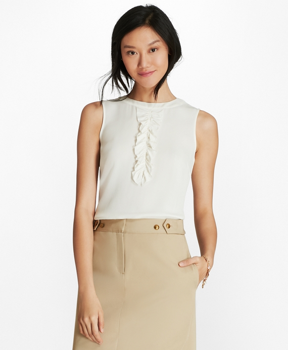 Ruffled Crepe Top White