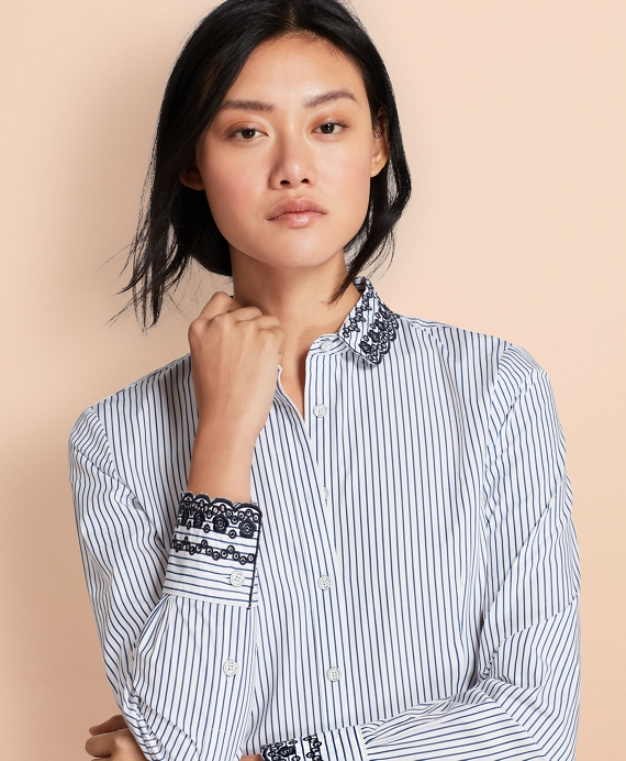 Eyelet-Embroidered Striped Cotton Poplin Shirt Blue-White