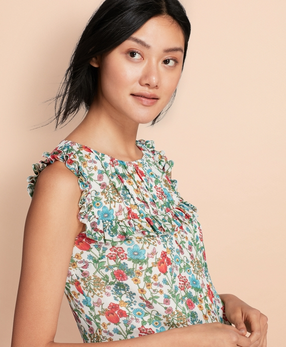 Ruffled Floral-Print Chiffon Top White-Multi