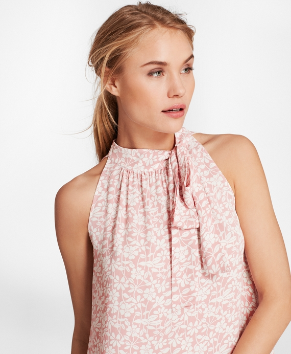 Floral-Print Crepe Blouse Light Pink-White