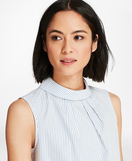 Striped Cotton Poplin Roll-Collar Blouse