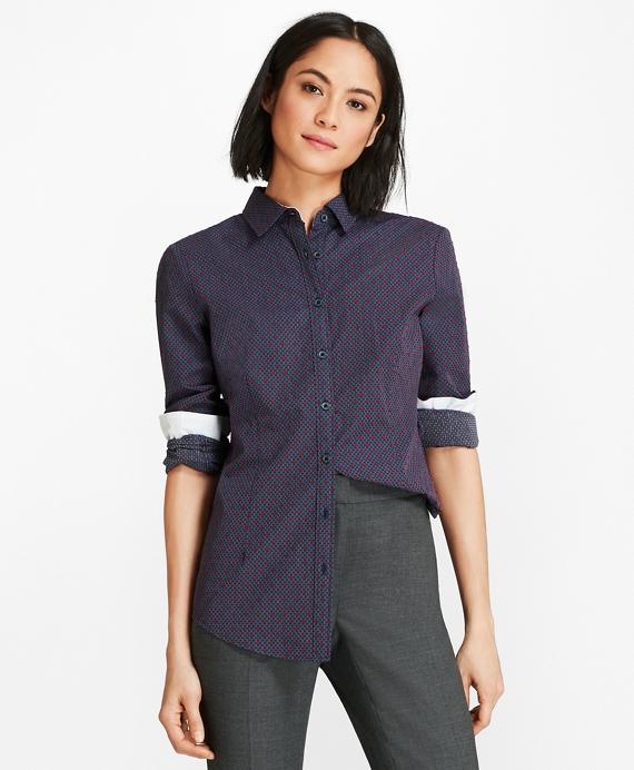 Cotton Clip-Dot Jacquard Shirt Navy