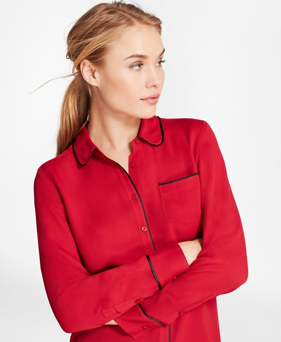 Piped Georgette Shirt Red