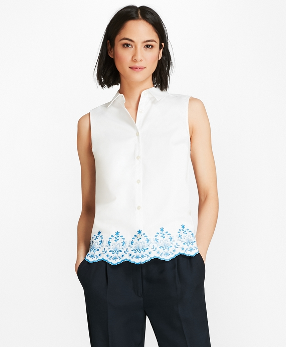 Floral-Embroidered Cotton Sateen Blouse White