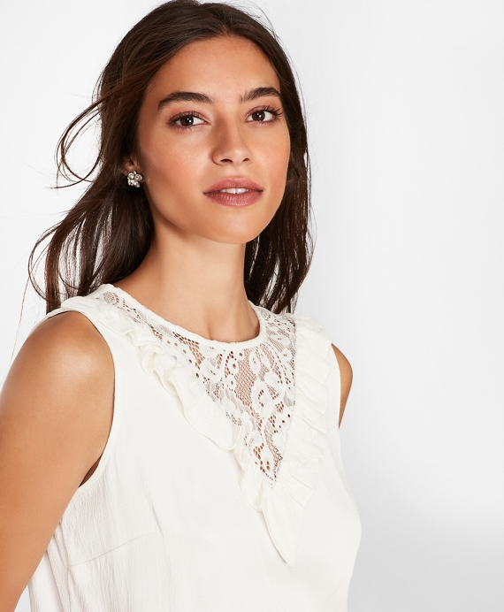 Lace-Trimmed Blouse Off White