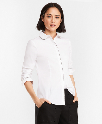 Beaded Stretch Cotton-Blend Poplin Shirt