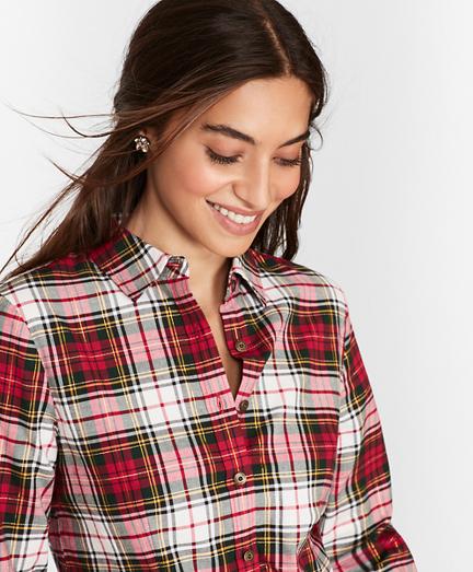Shimmer Plaid Cotton-Blend Flannel Shirt