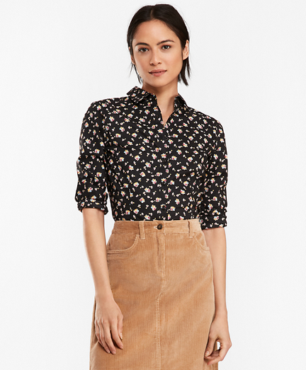 Floral-Print Stretch Cotton Poplin Shirt