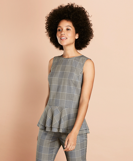 Plaid Stretch-Wool Peplum Top