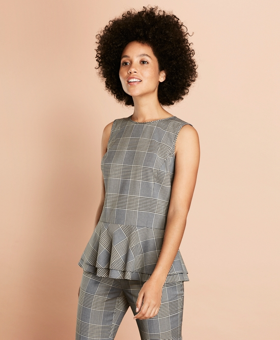 Plaid Stretch-Wool Peplum Top Grey
