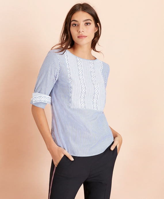 Embroidered Striped Cotton Poplin Blouse Blue