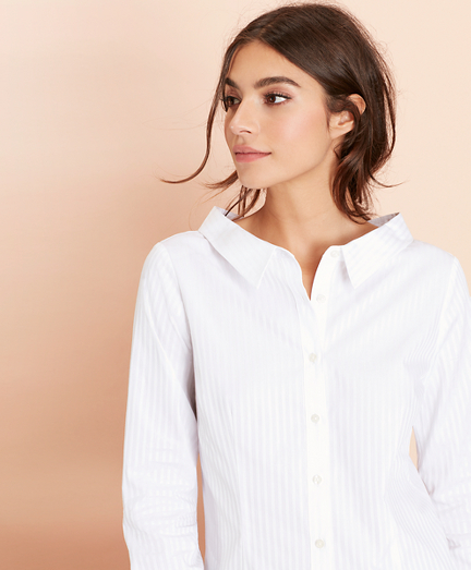 Striped Cotton Portrait-Collar Shirt