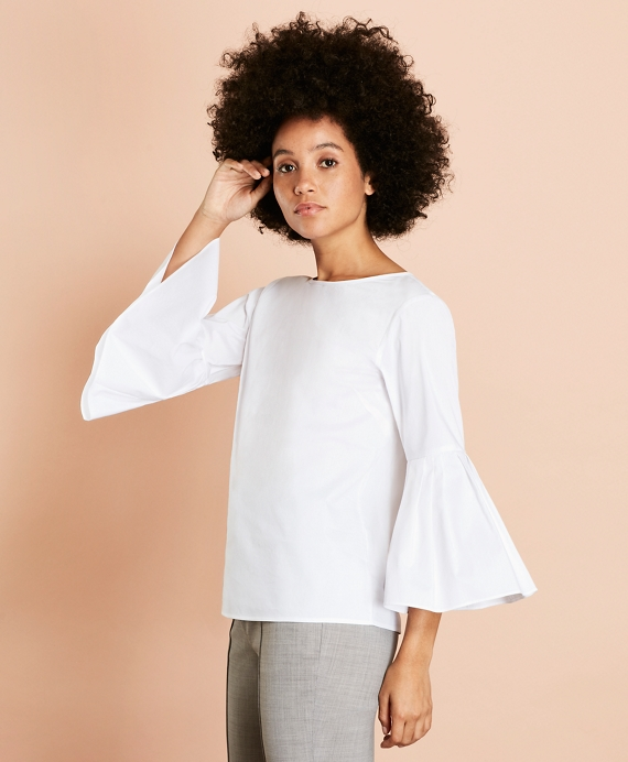 Poplin Bell-Sleeve Blouse White