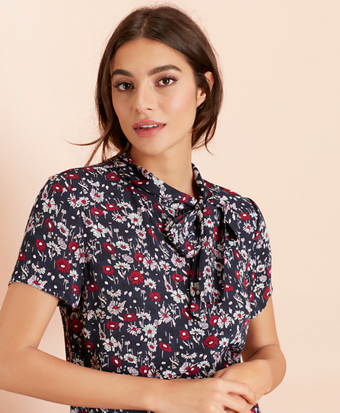 2929b5238d0e1 Floral-Print Crepe Tie-Neck Blouse