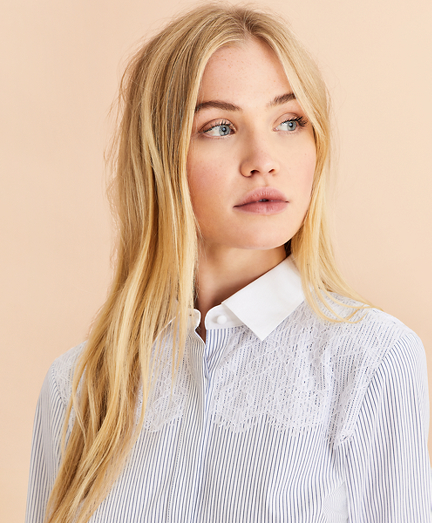 Lace-Yoke Striped Cotton Poplin Shirt