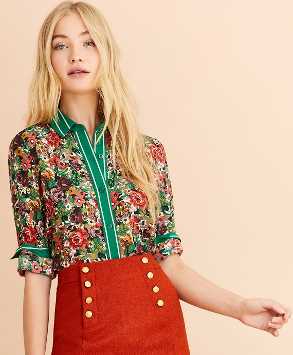 Floral-Print Crepe Blouse Green-Multi