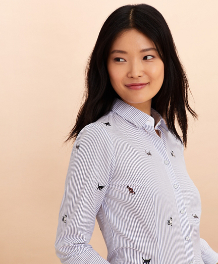 Cat-Embroidered Striped Cotton Poplin Shirt