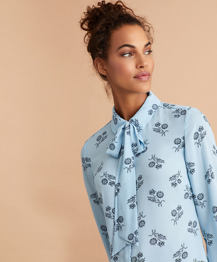 Floral-Print Bow-Neck Crepe Shirt