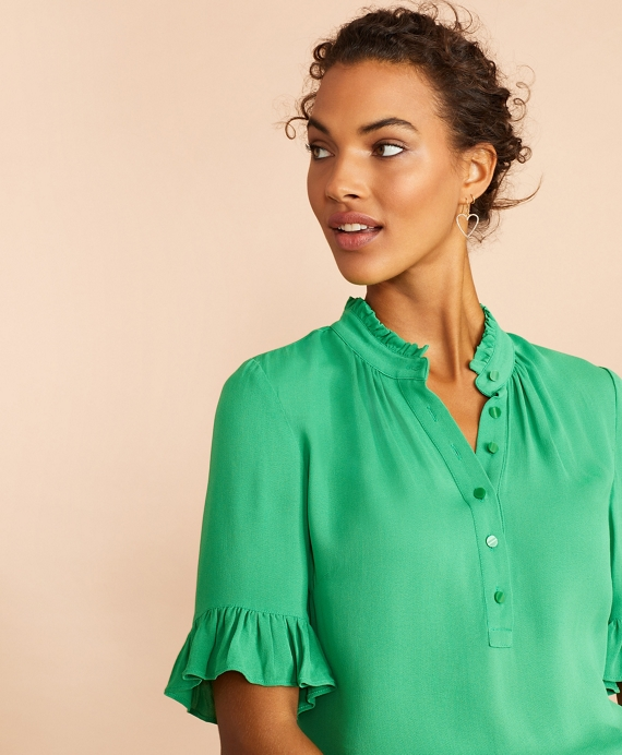 Crepe Ruffled Blouse Green