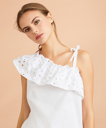 Eyelet Ruffle-Trim One-Shoulder Top