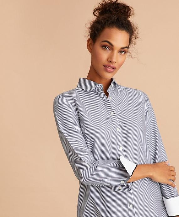 Non-Iron Striped Cotton Broadcloth Tunic Blue