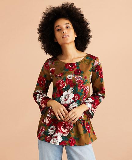 Floral-Print Cotton Sateen Peplum Top