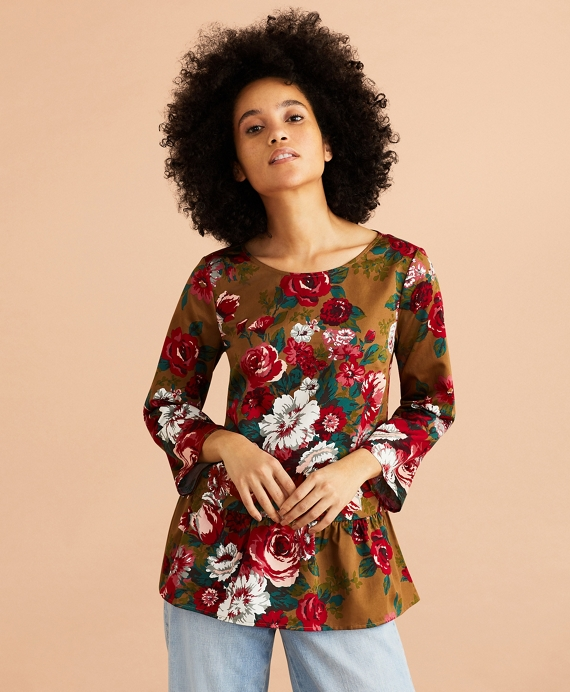 Floral-Print Cotton Sateen Peplum Top Brown-Multi