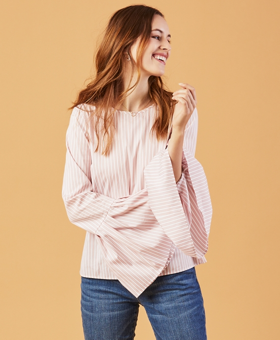 Stripe Stretch-Cotton Bell-Sleeve Blouse Pink-White