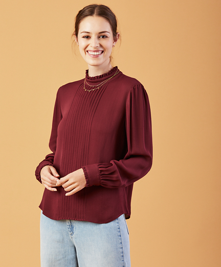 Pintucked Crepe Blouse