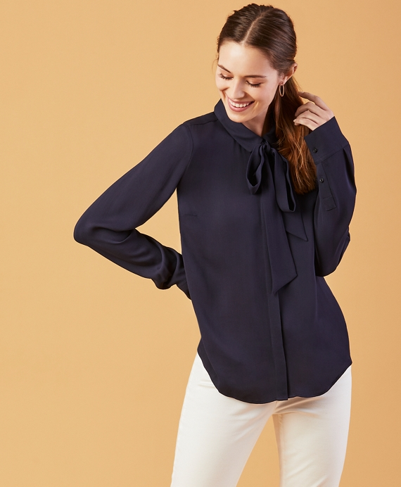 Bow-Neck Crepe Shirt Navy