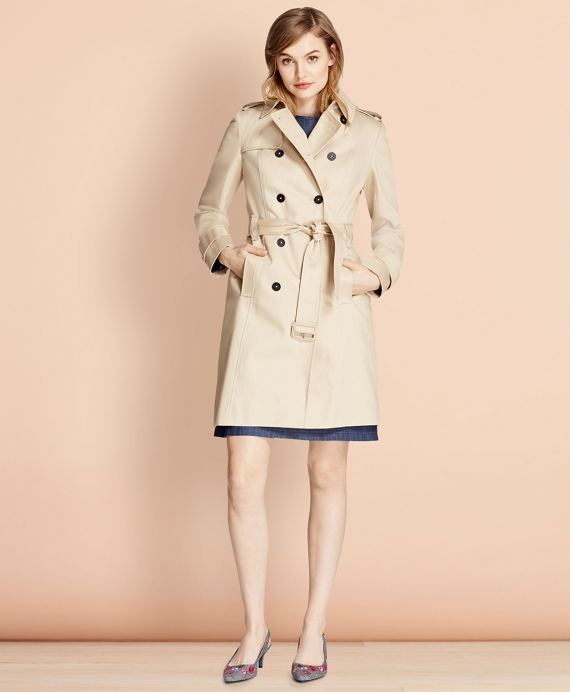 Cotton Twill Trench Coat Khaki