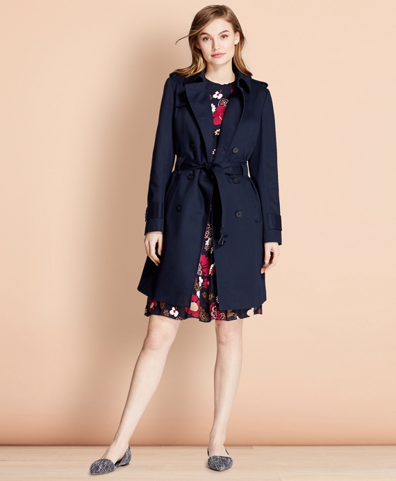 Cotton Twill Trench Coat Navy