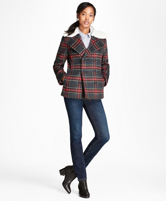 Tartan Wool-Blend Double-Breasted Coat Grey-Multi