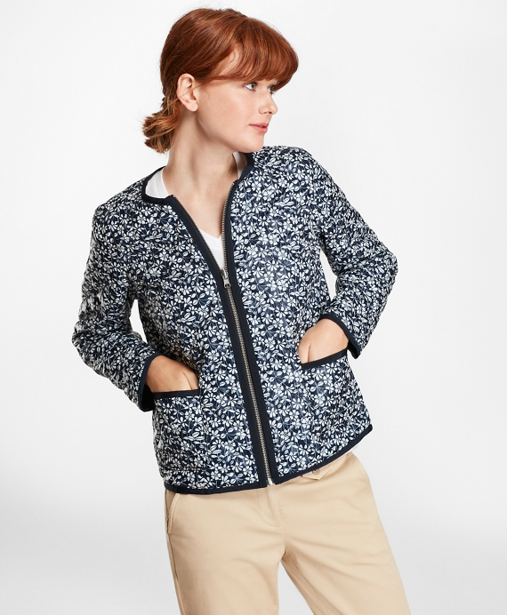 Water-Repellent Floral-Print Reversible Quilted Jacket Blue-White
