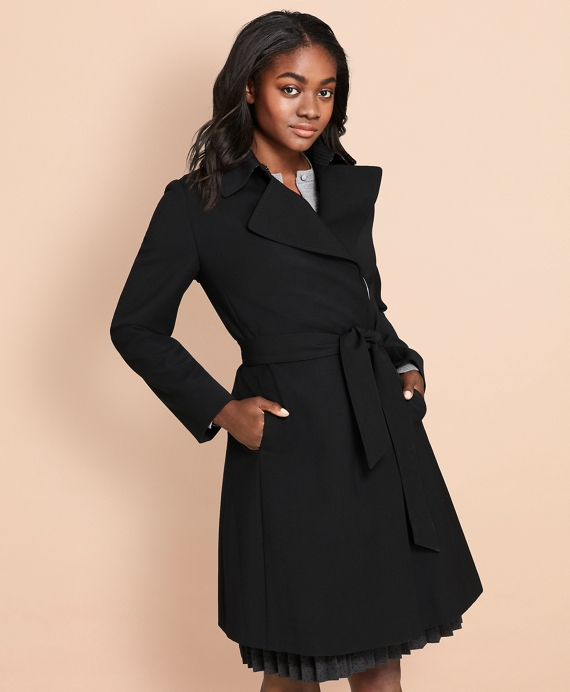 Wool-Blend Crepe Trench Coat Black