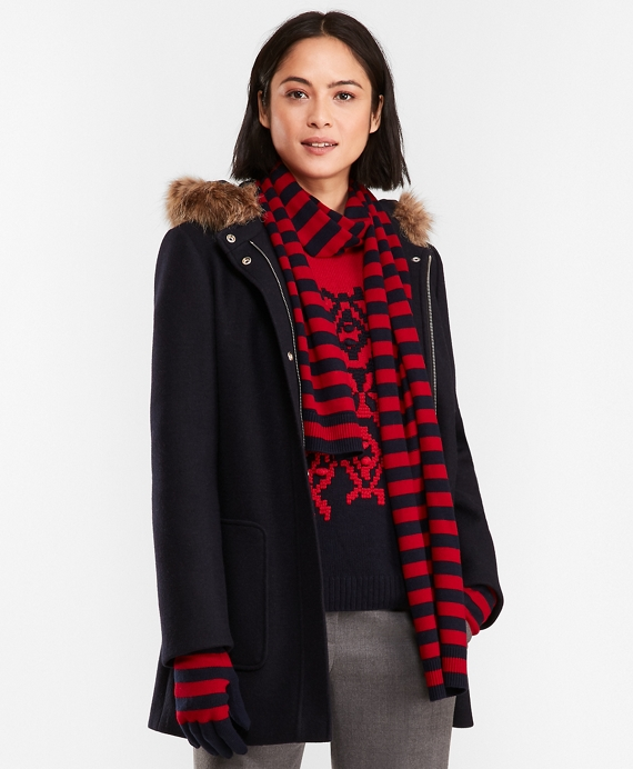 Double-Knit Wool-Blend Coat Navy