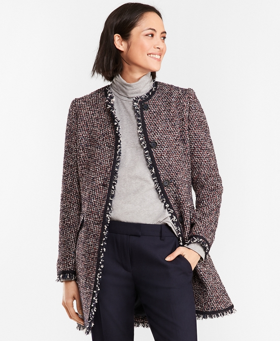 Boucle Coat Red-Navy