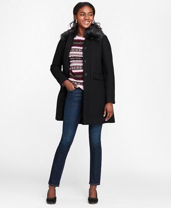 Faux-Fur-Collar Stretch Wool Twill Coat