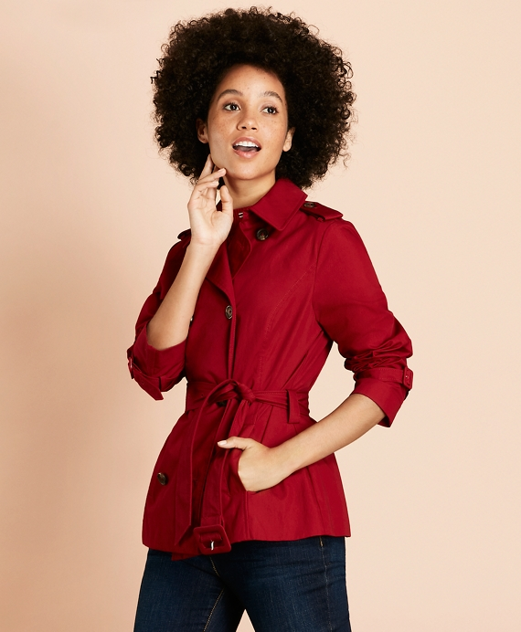 Water-Repellent Stretch-Cotton Twill Trench Coat Red