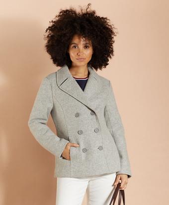 Wool-Blend Double-Knit Jersey Peacoat