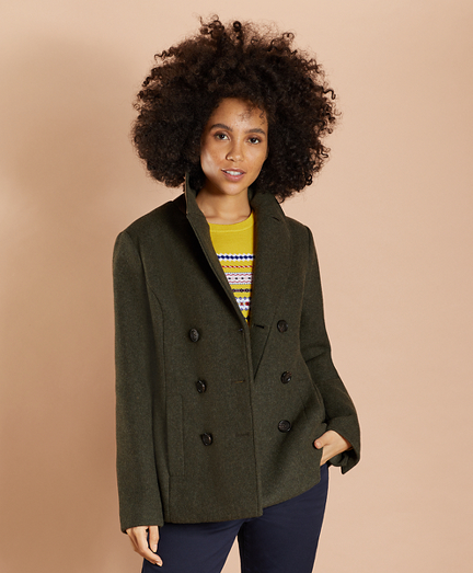 Wool-Blend Double-Knit Jersey Peacoat