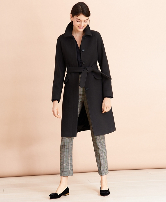 Water-Repellent Stretch-Wool Twill Trench Coat Black
